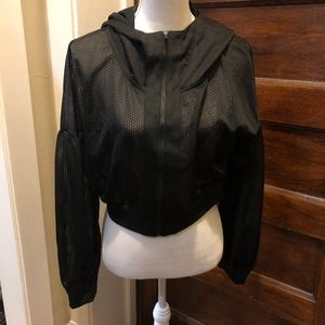 PUMA Large Black Hooded Netted Crop Top NWT